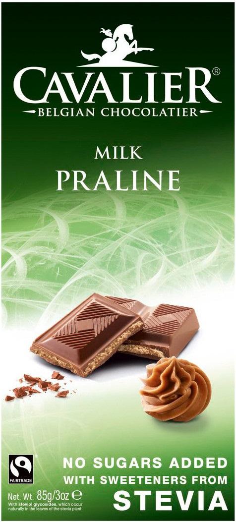 Шоколад Cavalier Бельгийский молочный БЕЗ САХАРА с пралине из лесного орехаи и СТЕВИЕЙ, 85 tatonka cavalier