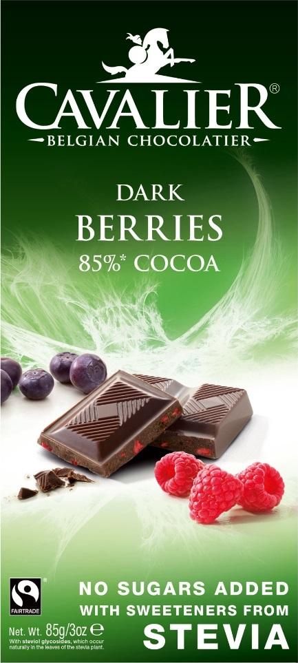 Шоколад Cavalier Бельгийский горький БЕЗ САХАРА с лесными ягодами и СТЕВИЕЙ, 85 шоколад mr cho горький шоколад без сахара 300 г