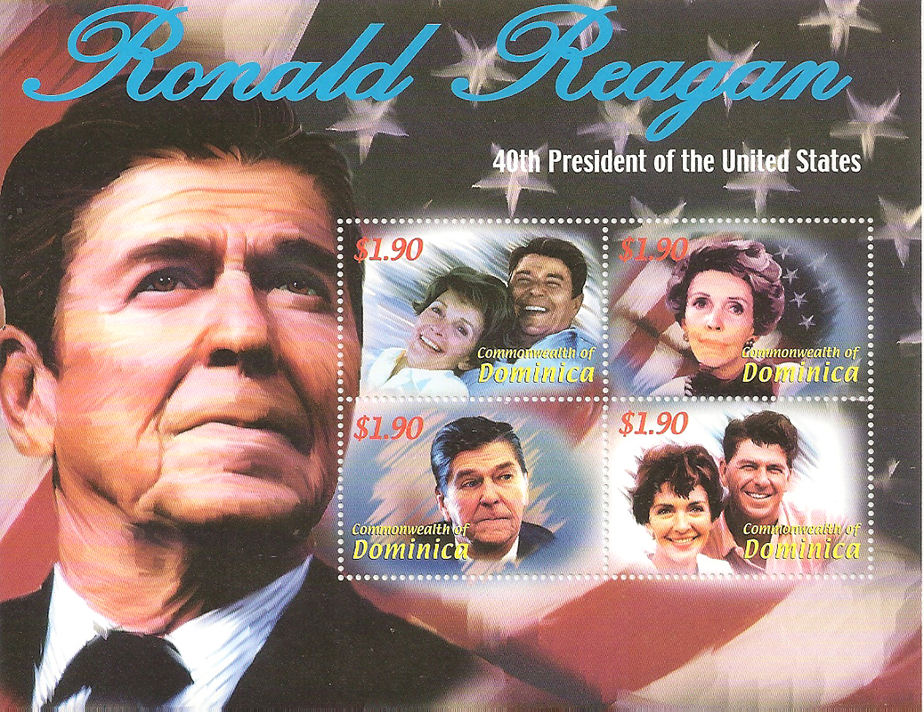 Блок марок Рональд Рейган. Доминикана, 2000 косметика карла доминикана