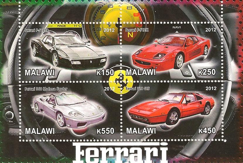 Блок марок Машины Ferrari. Тип 1. Малави, 2012 the ferrari book page 1