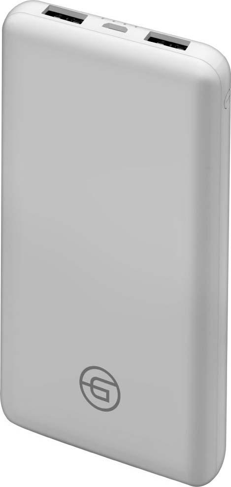 Внешний аккумулятор Ginzzu GB-3911W 10 000мАч, белый универсальный внешний аккумулятор topon top t72 w 18000mah 66 6wh с 2 usb портами и qc 2 0 для зарядки ноутбука белый