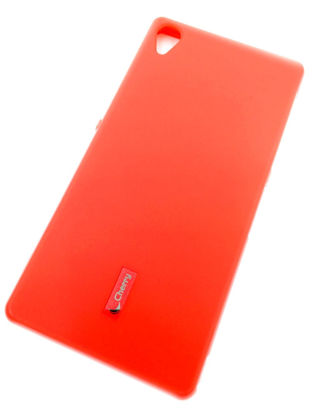 Чехол для сотового телефона Cherry Sony Z3 Накладка резиновая с пленкой на экран, красный