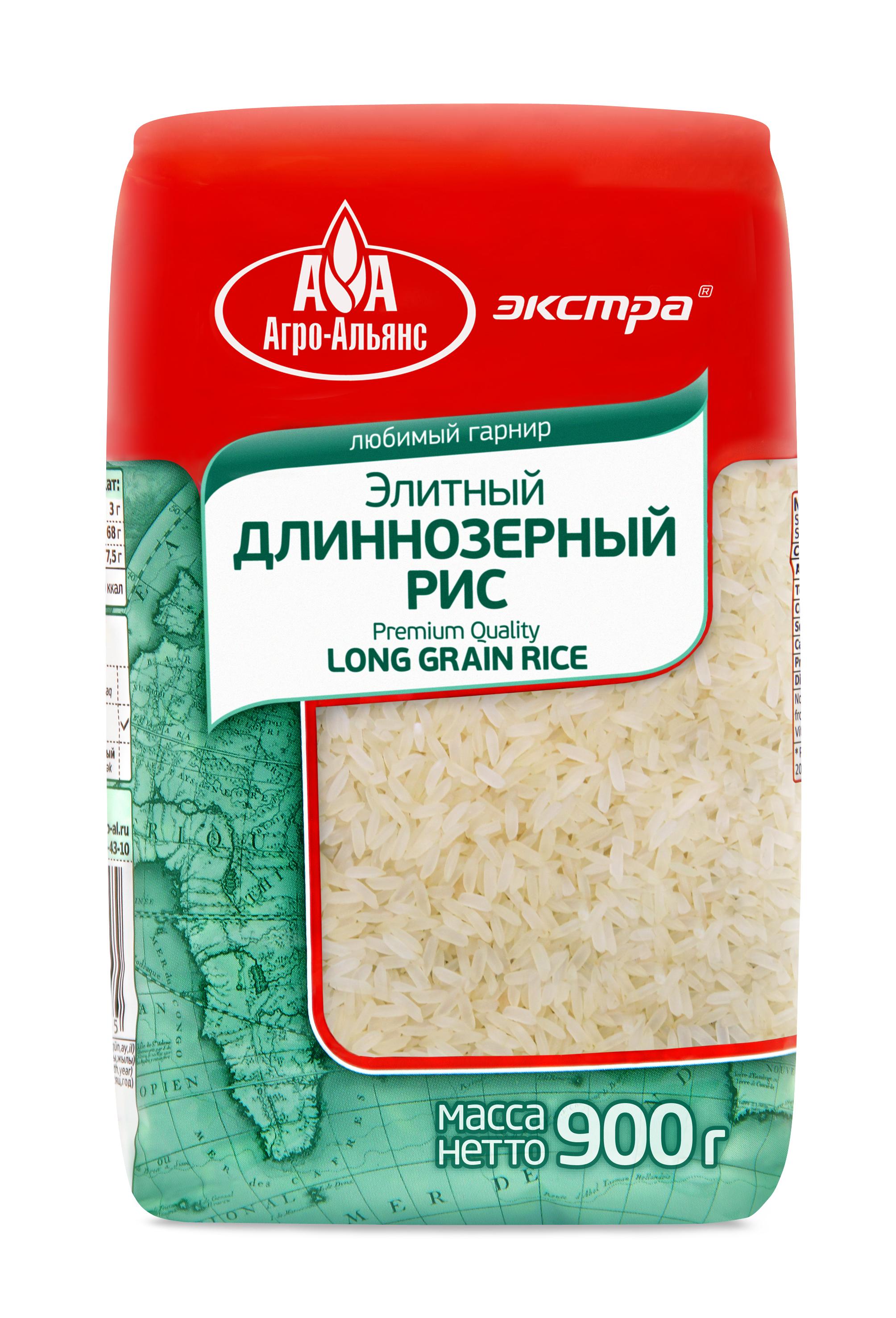 Рис Агро-Альянс элитный длиннозерный Экстра, 900 г агро альянс каскад рис пропаренный золотой 900 г