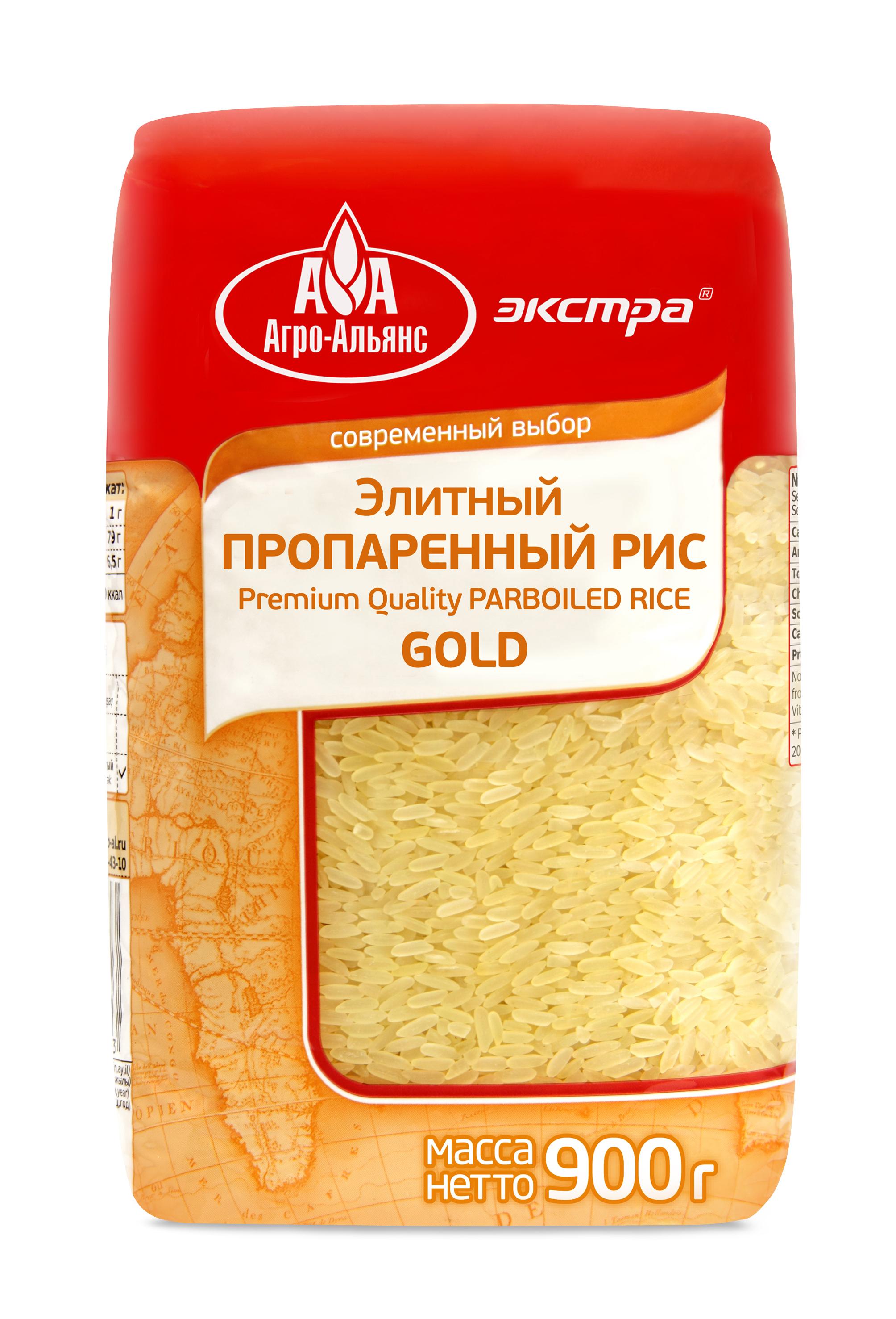Рис Агро-Альянс элитный пропаренный GOLD Экстра, 900 г националь рис длиннозерный пропаренный золотистый 900 г