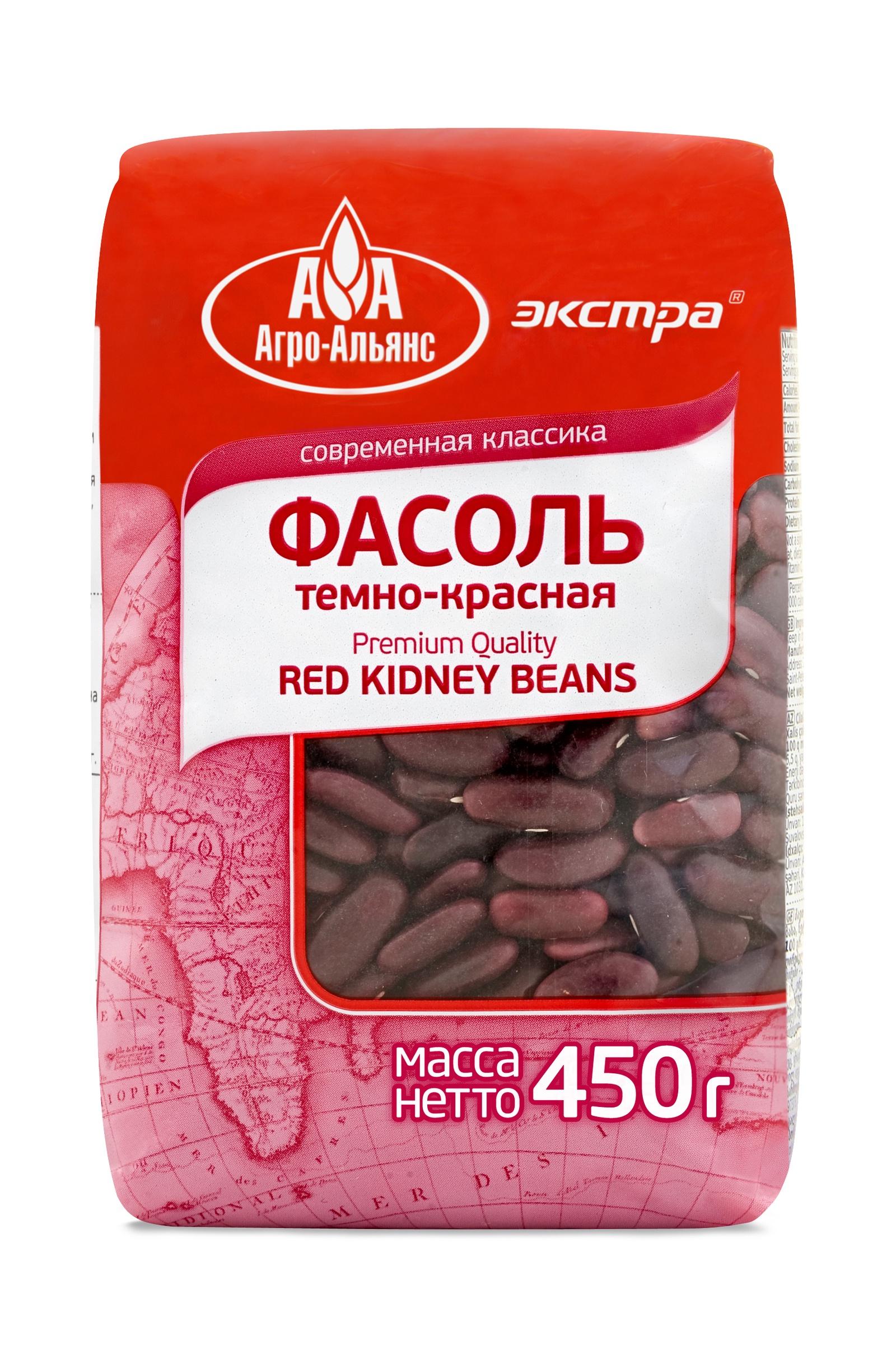 Фасоль сушеная Агро-Альянс темно-красная Kidney Экстра, 450 г