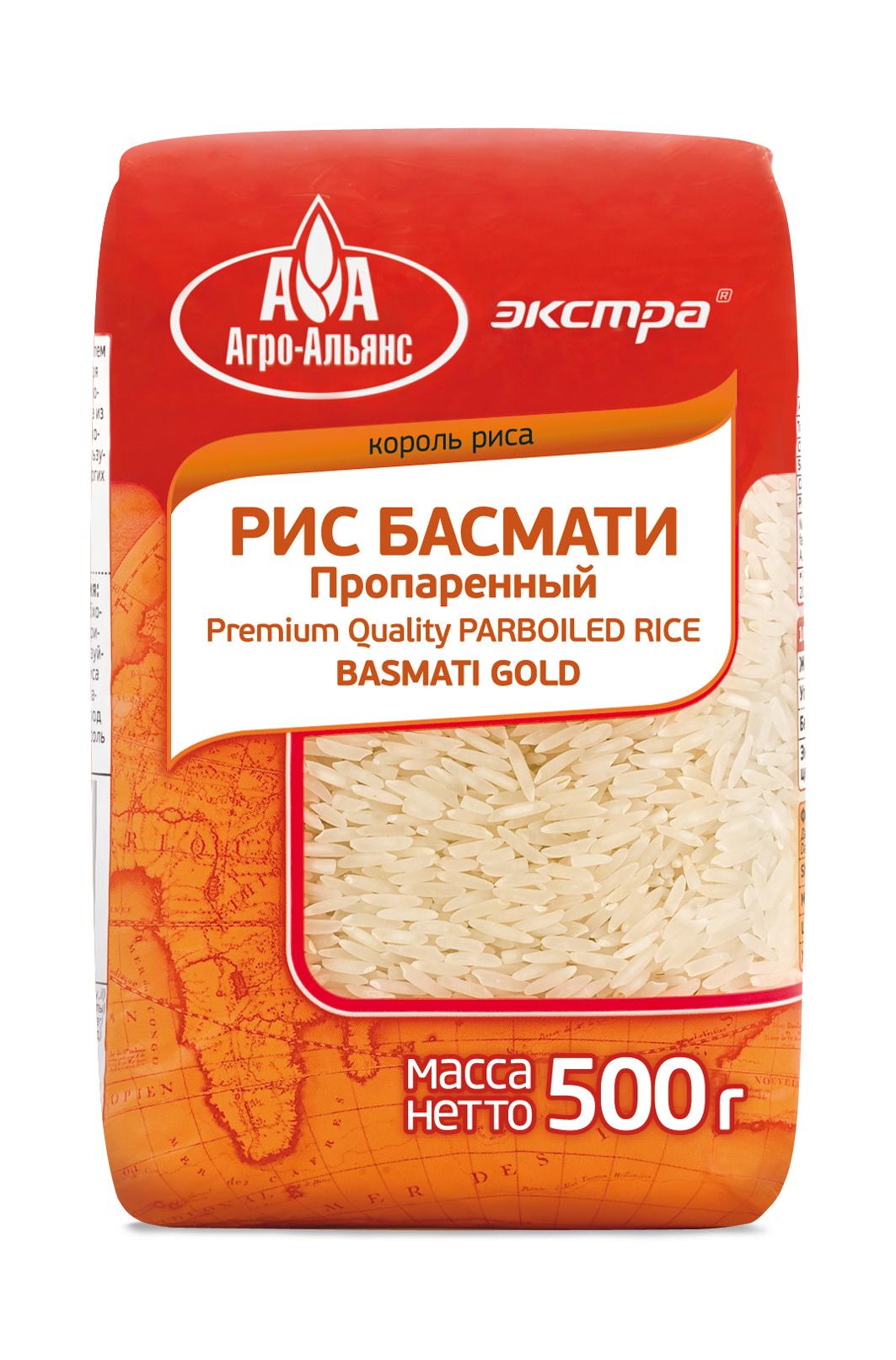 Рис Агро-Альянс Басмати Голд пропаренный Экстра, 500 г агро альянс каскад рис пропаренный золотой 900 г