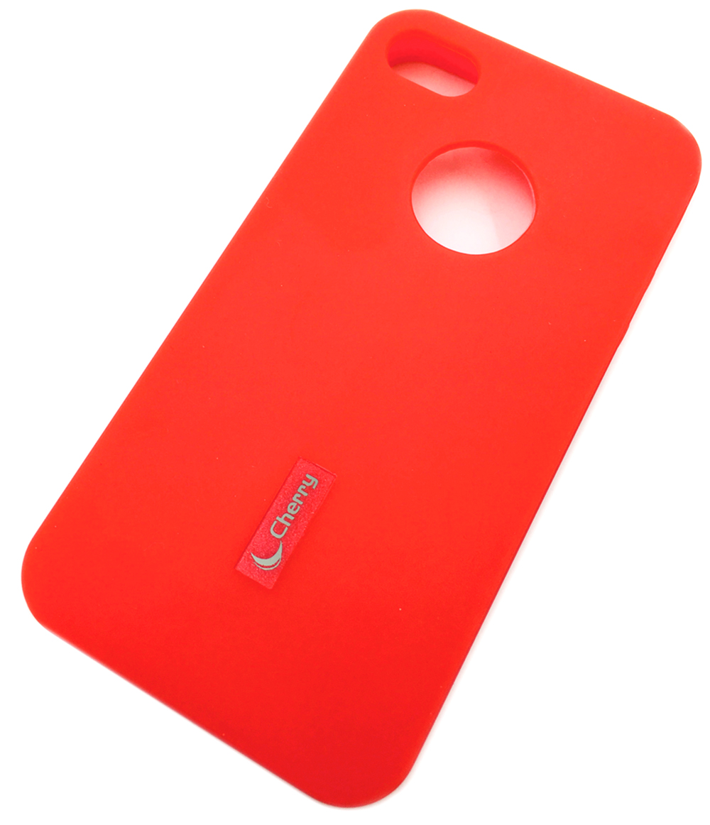 Чехол для сотового телефона Cherry iPhone 4/4S Накладка резиновая с пленкой на экран, красный
