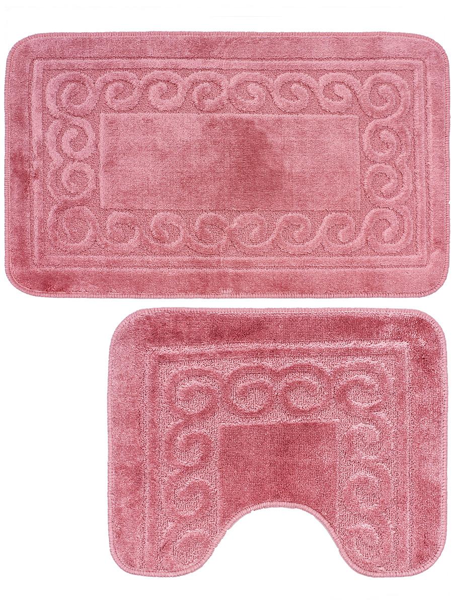 Набор ковриков для ванной Mr.Penguin BF004/2, розовый