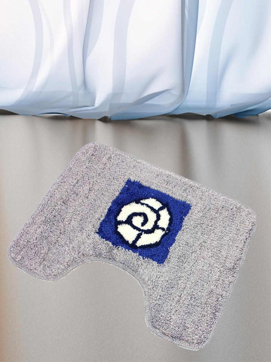 Коврик для туалета mr. Penguin RGS405 I/0, синий, серый коврик для туалета mr pinguin узоры синий белый