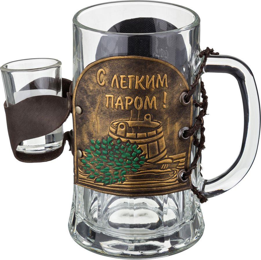 Кружка пивная Agness Баня с рюмкой, 352-035, коричневый, 600 мл кружка пивная agness в бане веник дороже денег 352 222 коричневый 600 мл