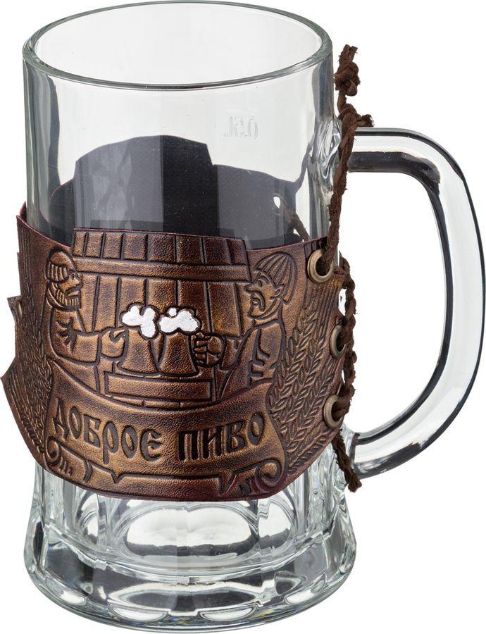 Кружка пивная Agness Доброе пиво, 352-286, коричневый, 600 мл стоимость