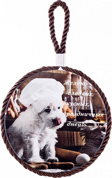 Подставка под горячее Lefard Желаю сладких вкусных праздничных дней, 229-215, мультиколор, диаметр 11 см229-215Подвесная подставка на пробковой основе с изображением собаки и надписью