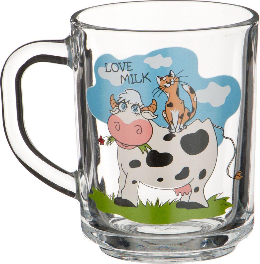 Кружка столовая Agness Love Milk, 484-423, прозрачный, 250 мл484-423Кружка объемом 250мл из прозрачного стекла с мультипликационным изображением