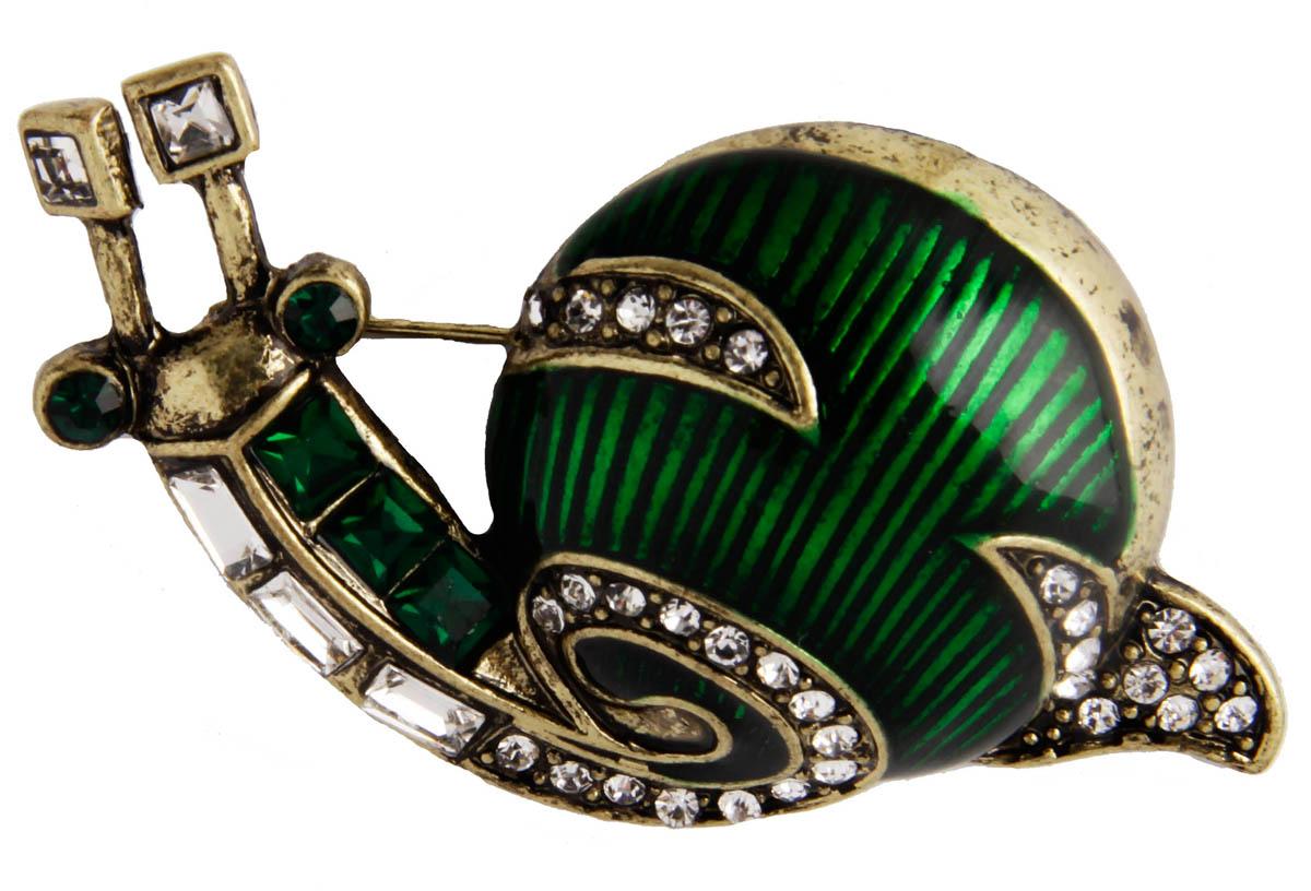 Брошь Anybody ОС29402, Бижутерный сплав, Австрийские кристаллы, Эмаль, зеленый