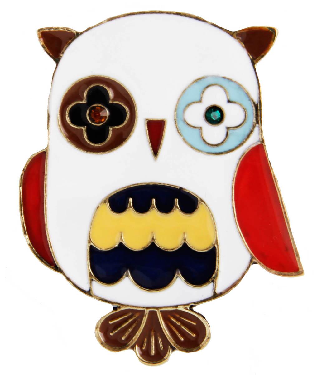 Брошь бижутерная Anybody Веселая сова, Бижутерный сплав, Эмаль, Австрийские кристаллы, белый, красный, желтый, темно-синий, голубой
