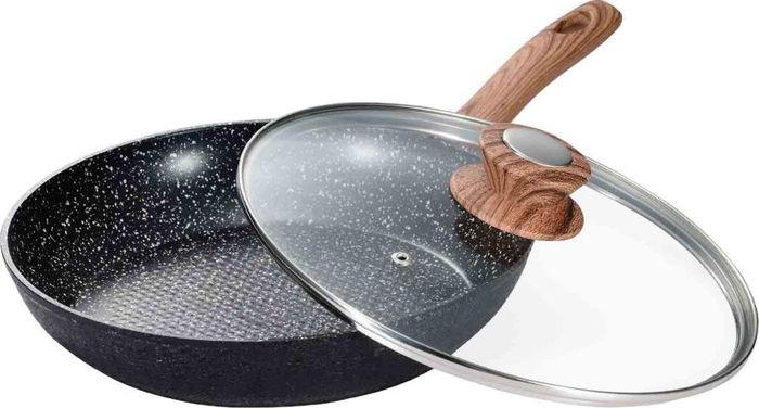 Сковорода Vissner, VS-7503-26, с мраморным покрытием, черный, диаметр 26 см сковорода сотейник vissner vs 7451 22 см