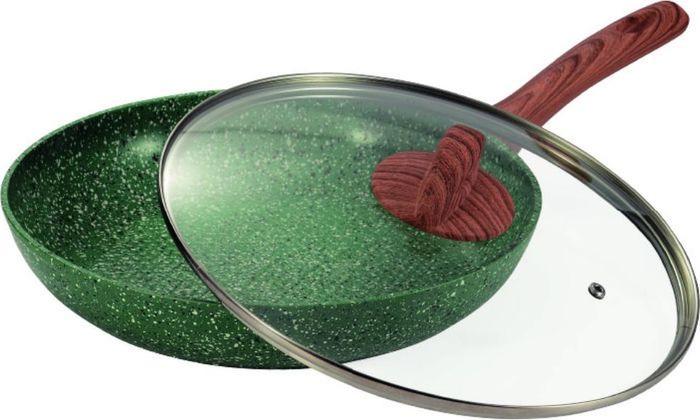 Сковорода Vissner, VS-7501-22, с мраморным покрытием, коричневый, зеленый, диаметр 22 см сковорода сотейник vissner vs 7451 22 см