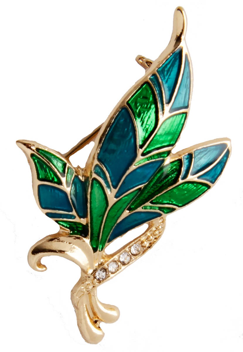 Брошь бижутерная Anybody Флора, Бижутерный сплав, Эмаль, Австрийские кристаллы, зеленый, бирюзовый, золотой