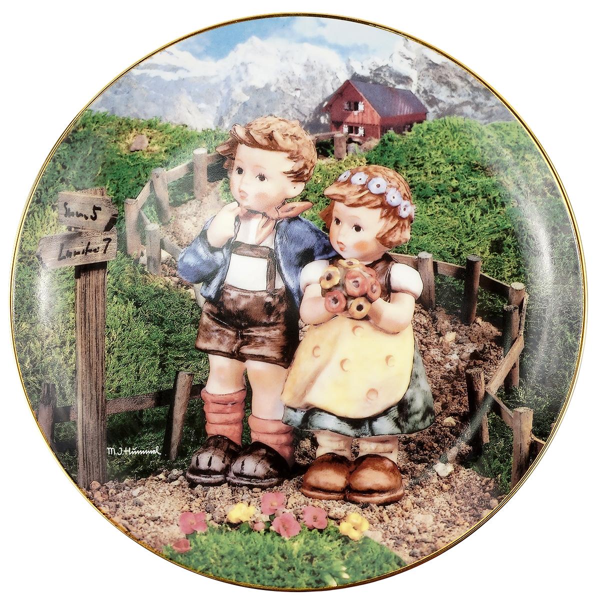 Декоративная тарелка Goebel На перекрестке. Фарфор, деколь, золочение. Швейцария, вторая половина ХХ века чайный сервиз сорренто на 3 персоны 12 предметов фарфор деколь золочение royal albert великобритания вторая половина хх века