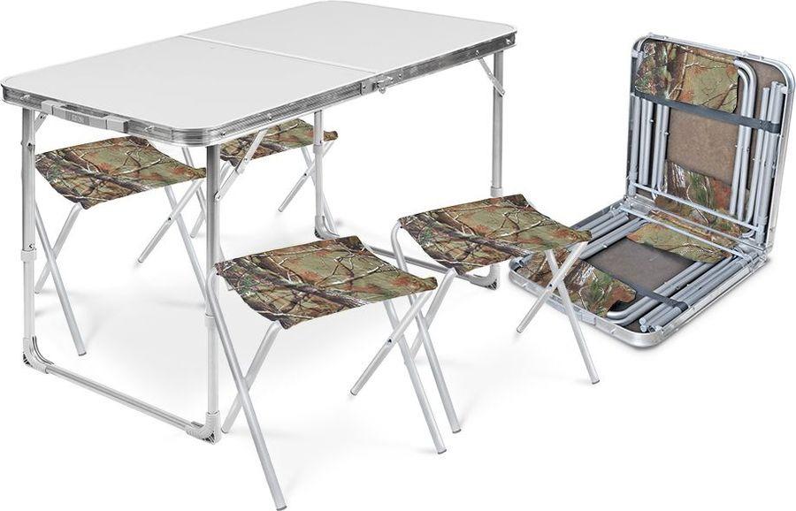 Набор складной мебели Nika Стол + 4 стула, ССТ-К 2, зеленый, дубовые листья