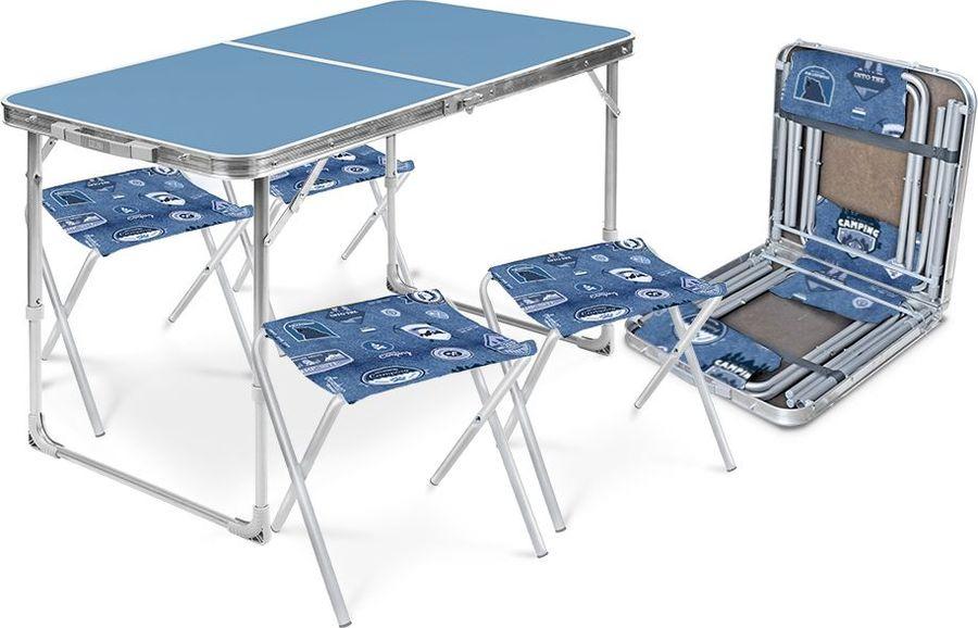 Набор складной мебели Nika Стол + 4 стула, ССТ-К 2, голубой, джинс