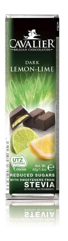 Шоколадный батончик Cavalier Бельгийский горький шоколад без сахара с лимоном, лаймом и стевией, 40 г шоколад mr cho горький шоколад без сахара 300 г