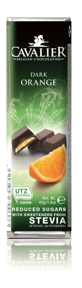 Шоколадный батончик Cavalier Бельгийский горький шоколад без сахара с апельсином и стевией, 40 г цена
