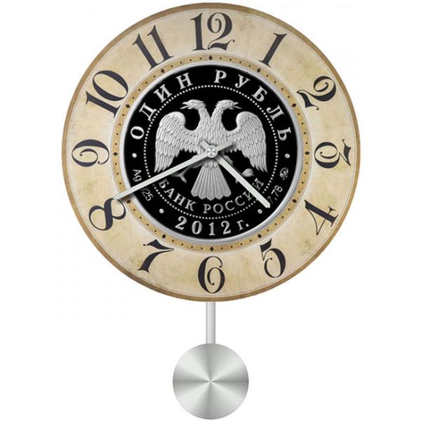 Настенные часы Kitch Clock 35113293511329Механизм: Кварцевый; Корпус: Дерево; Размер: Диаметр 35 см;Рисунок: Двухглавый орел