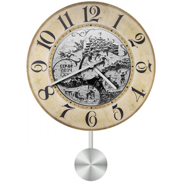 Настенные часы Kitch Clock 40113374011337Механизм: Кварцевый; Корпус: Дерево; Размер: Диаметр 40 см;Рисунок: Сочи 2014