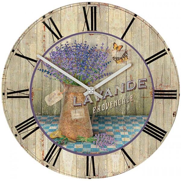 Настенные часы Kitch Clock 40010404001040Настенные часы для гостиной. Механизм: Кварцевый; Корпус: Дерево; Размер: Диаметр 40 см;Рисунок: Лаванда