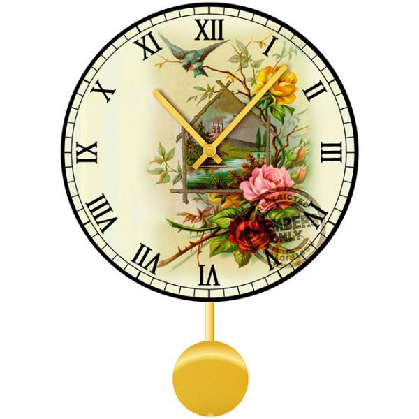 Настенные часы Kitch Clock 40110334011033Настенные часы для гостиной с маятником. Механизм: Кварцевый; Корпус: Дерево; Размер: Диаметр 40 см;Рисунок: Розы с птицей на ветке