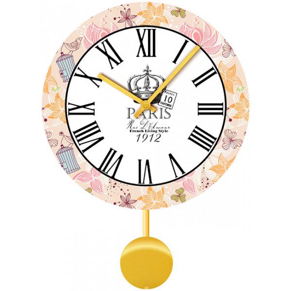 Настенные часы Kitch Clock 35110513511051Настенные часы для гостиной с маятником. Механизм: Кварцевый; Корпус: Дерево; Размер: Диаметр 35 см