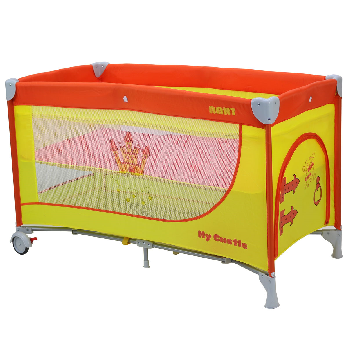 Манеж-кроватка Rant My Castle, желтый, оранжевый