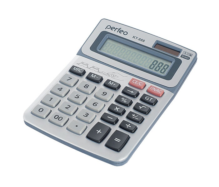 Настольный калькулятор Perfeo PF_3545, серебристый Perfeo