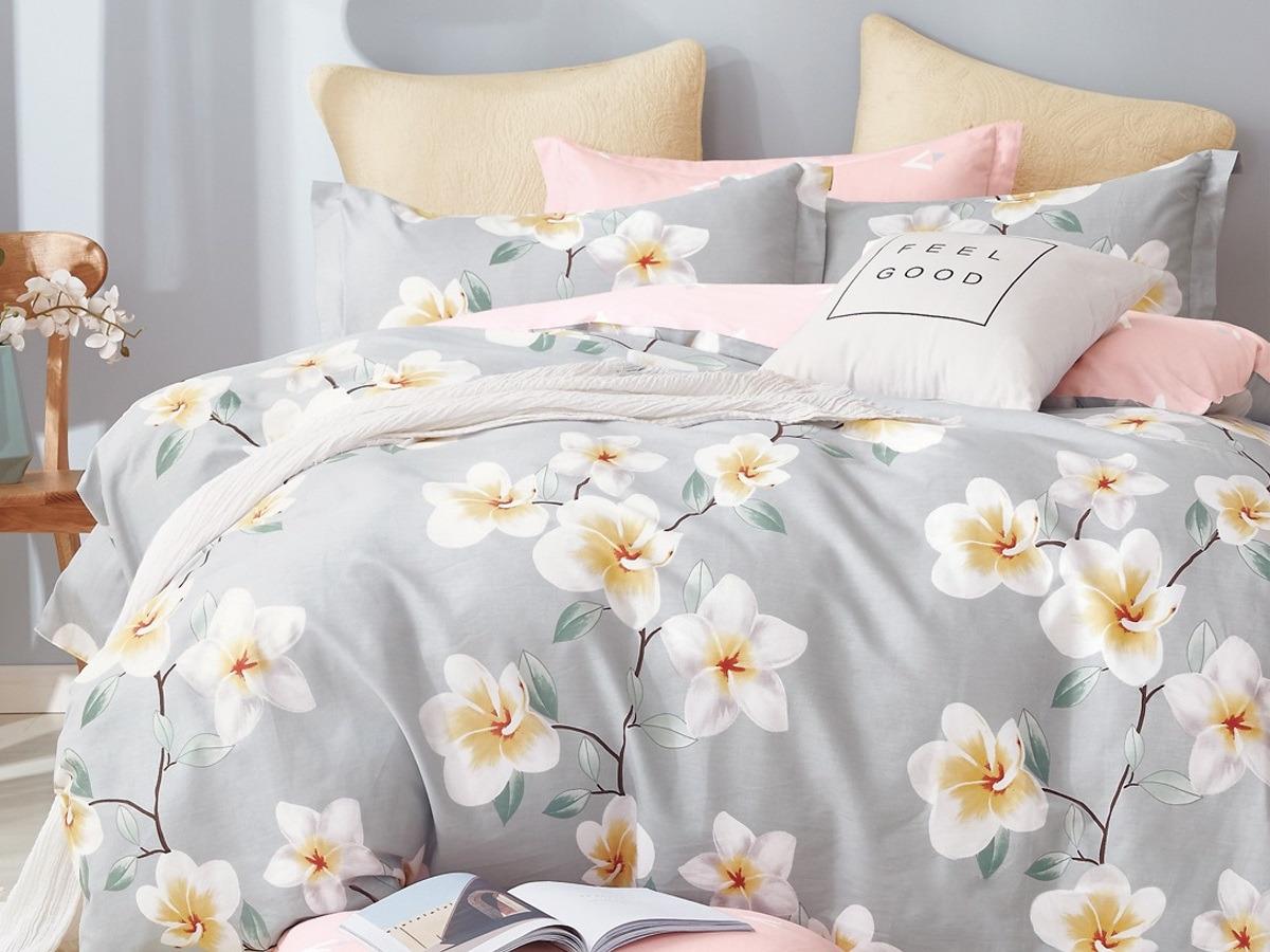 Комплект постельного белья Cleo Satin lux Валери, 15/365-SL, серый, 1,5-спальный, наволочки 70x70 постельное белье cleo кпб сатин набивной люкс дизайн 365 2 спальный