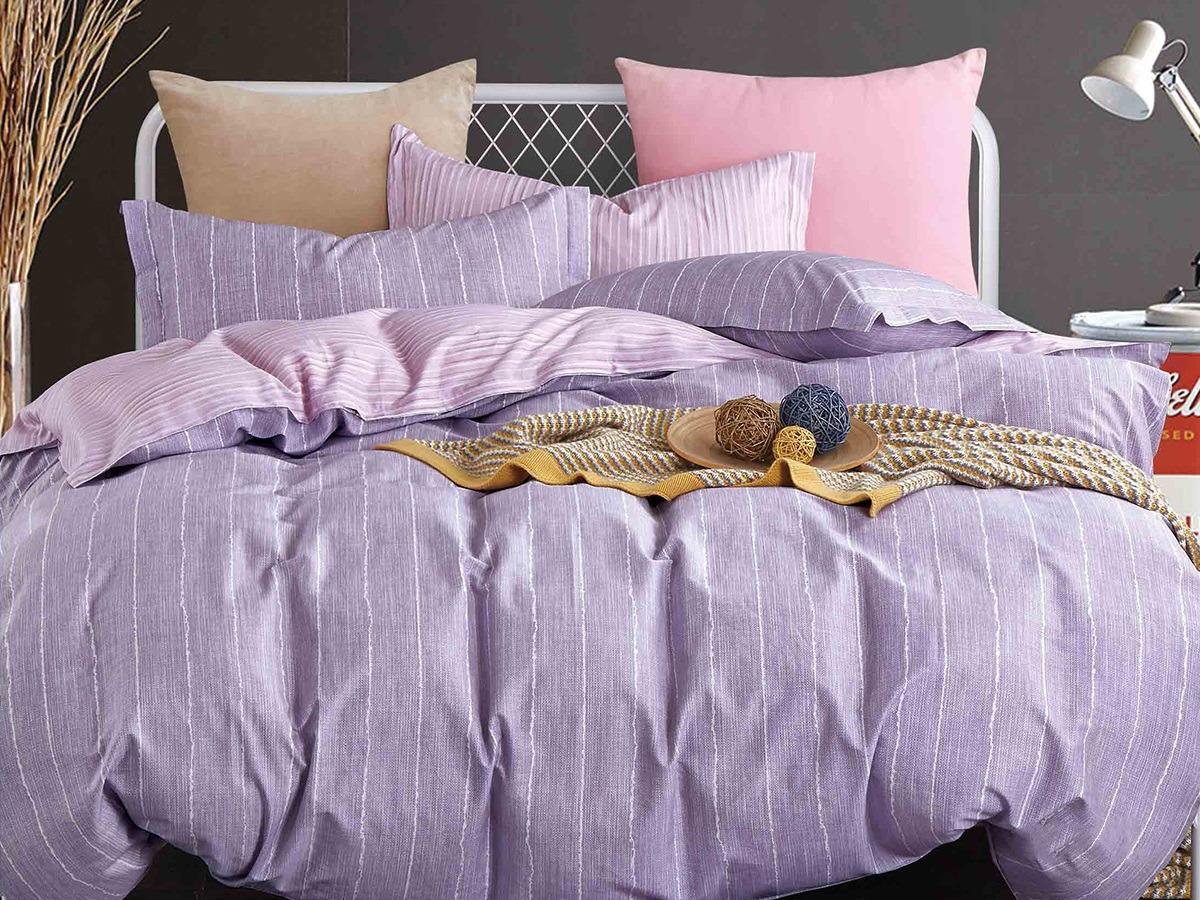 Комплект постельного белья Cleo Satin lux Коллин, 20/358-SL, сиреневый, 2-спальный, наволочки 70x70 постельное белье cleo satin lux 20 070 sl комплект 2 спальный сатин