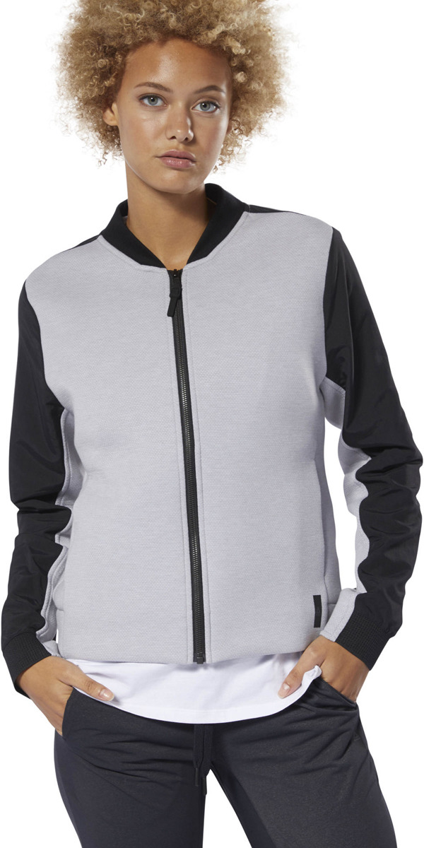 Куртка женская Reebok Ts Fullzip Bomber, цвет: светло-серый, черный. DP5612. Размер M (48)DP5612