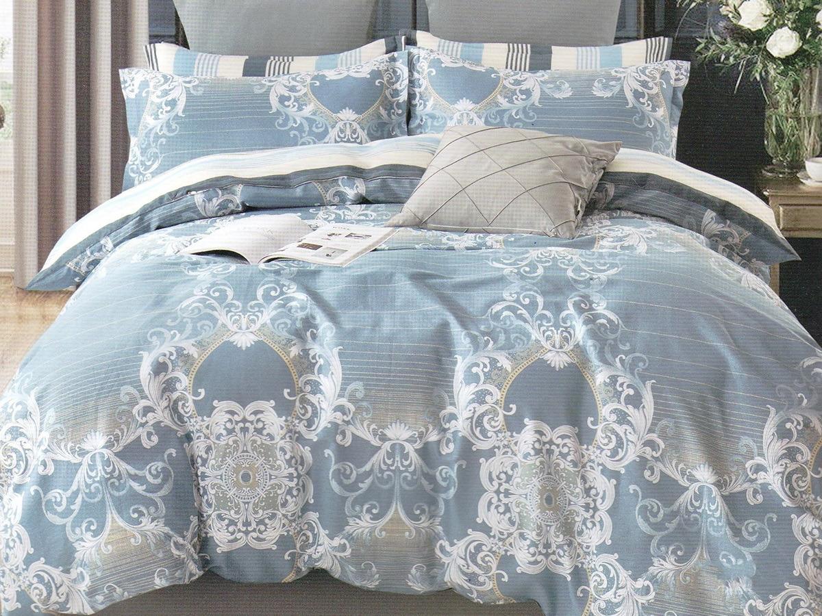 Комплект постельного белья Cleo Satin lux Андрия, 41/336-SL, голубой, семейный, наволочки 50х70, 70х70 постельное белье cleo кпб сатин набивной люкс дизайн 200 семейный