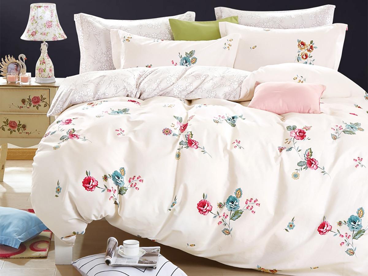 Комплект постельного белья Cleo Satin lux Английская роза, 20/415-SL, белый, 2-спальный, наволочки 70x70 постельное белье cleo кпб сатин набивной люкс дизайн 415 1 5 спальный