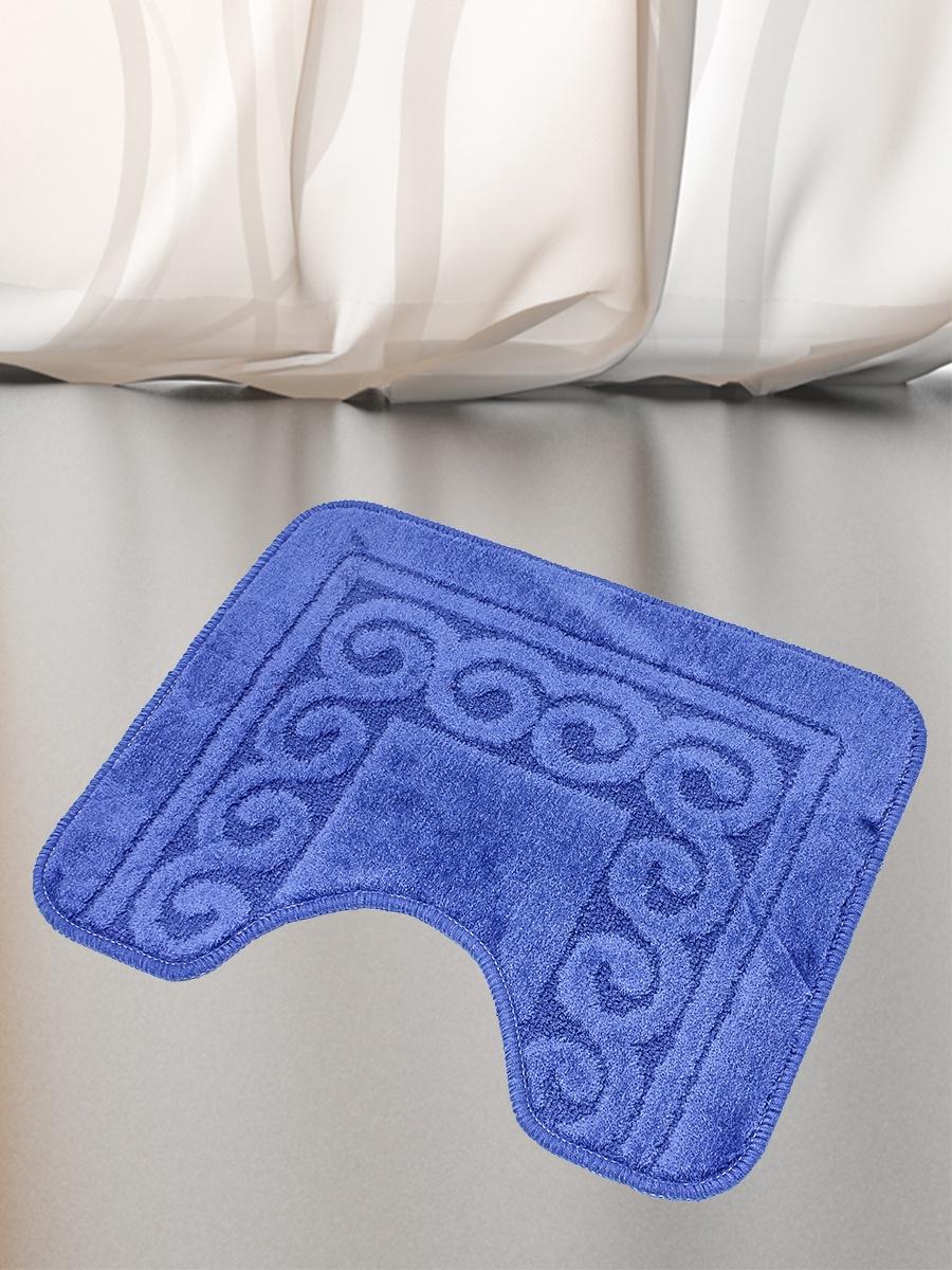 Коврик для туалета Mr.Penguin BF005/0, синий коврик для туалета mr pinguin узоры синий белый