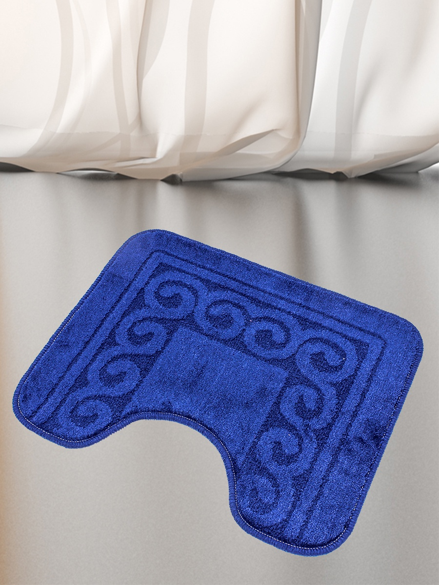 Коврик для туалета Mr.Penguin BF0011/0, темно-синий коврик для туалета mr pinguin узоры синий белый