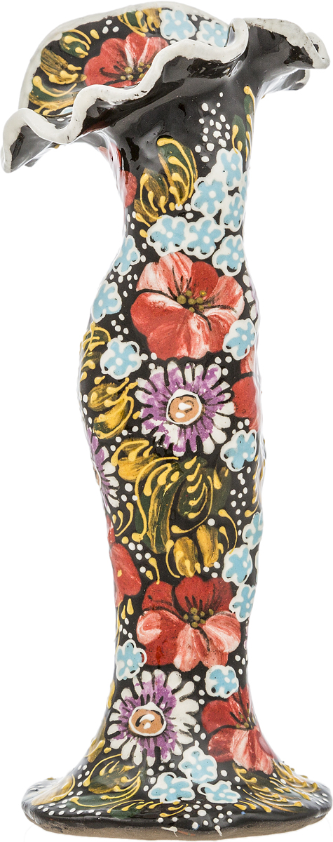 Ваза миниатюрная для одного цветка. Керамика роспись цветные эмали ручная работа. Россия ваза soto для одного цветка 10х25 5 см