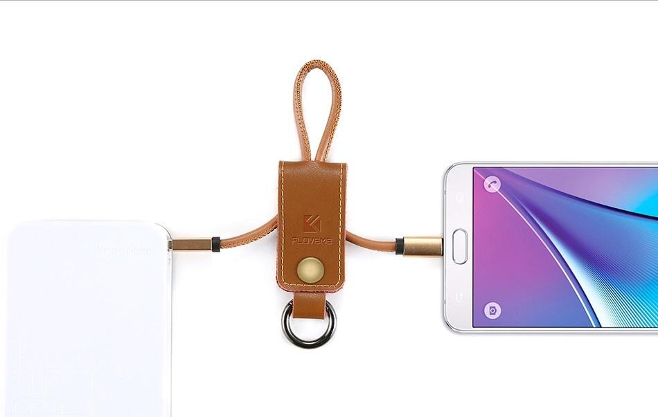Кабель Floveme Кожаный кабель-брелок Micro-USB, кофейный, коричневый, оранжевый, черный