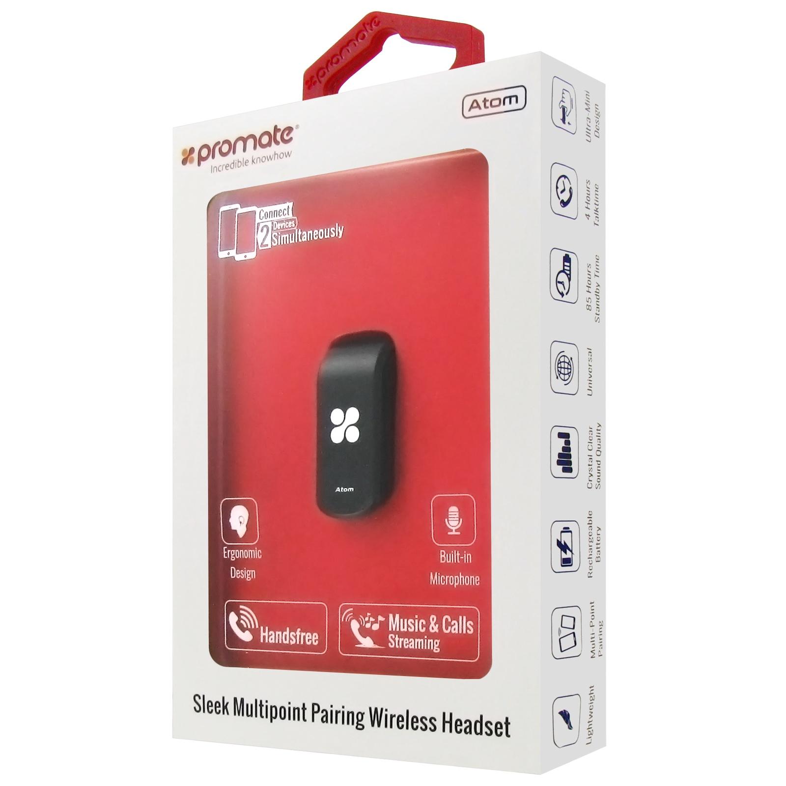 Bluetooth-гарнитура Promate Atom Black, черный телефон dect gigaset l410 устройство громкой связи