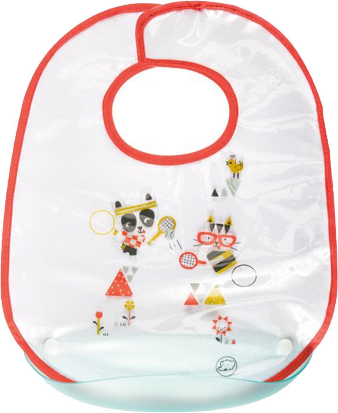 Слюнявчик Bebe Confort Sport с пластиковым кармашком белый, красный эргономичные кусачки для ногтей с базой bebe confort красный