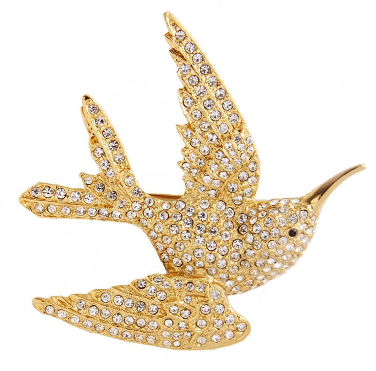 """Брошь бижутерная """"Птица в полете"""", Бижутерный сплав, Австрийские кристаллы, золотой, белый"""