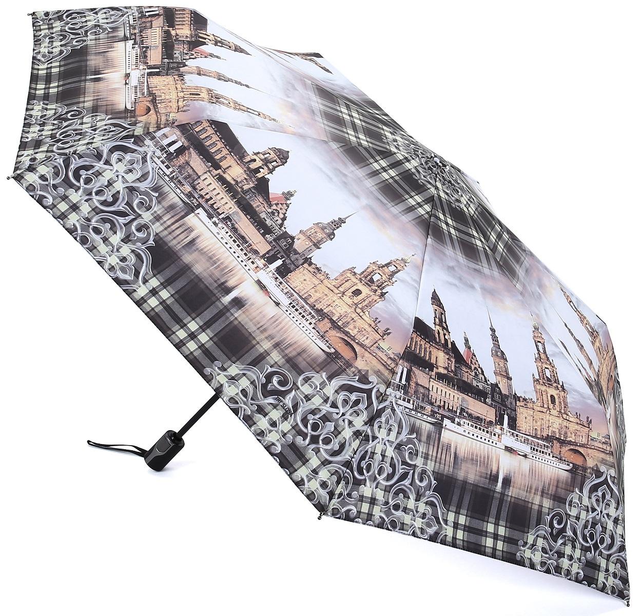 Зонт Три слона 361-J-03, голубой, светло-коричневый