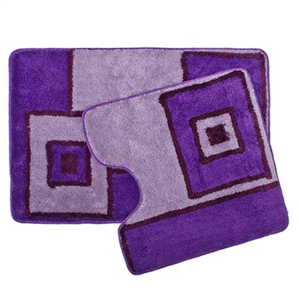 Комплект ковриков для ванной Vetta Геометрия, 462394, фиолетовый, 2 шт