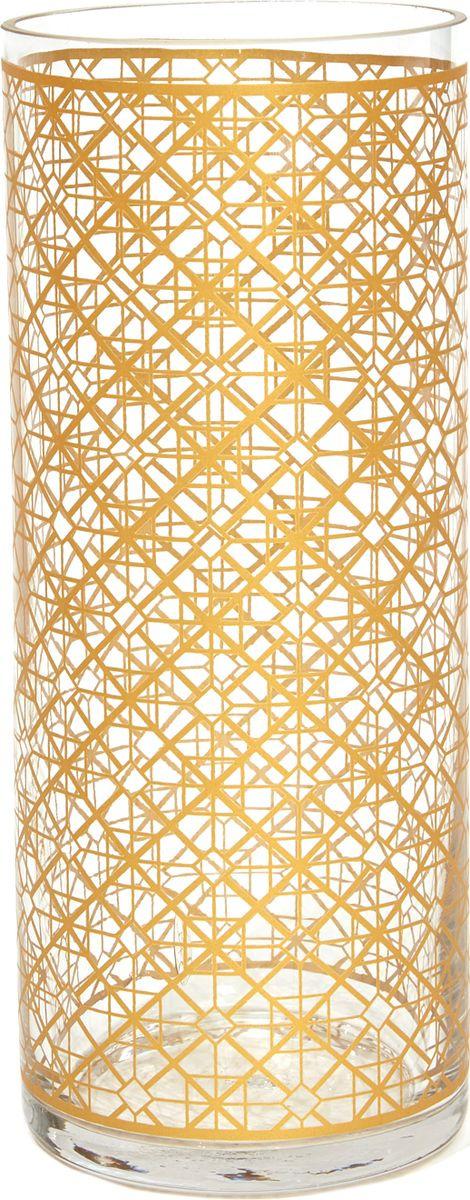 Ваза Cozy Home Woodsy, 526402, золотой, прозрачный, 10 х 10 х 25 см