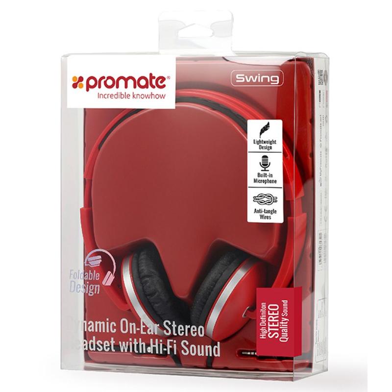 цена на Беспроводные наушники Promate Tempo-BT Red, красный